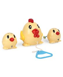 Pull Along Chicken Toy Pack of 3 - Cream
