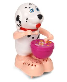 Battery Operated Doggy Drummer - Black & White