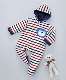Child World Winter Wear Full Sleeves Hooded Stripe Romper Lion Patch - White Navy Blue