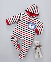 Child World Winter Wear Full Sleeves Hooded Stripe Romper Lion Patch - White Red