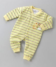 Child World Full Sleeves Striped Romper - Yellow