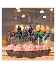 Party Propz Super Hero Cup Cake Topper Multi Colour - Pack of 14