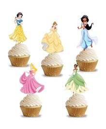 Party Propz Princess Cup Cake Topper Girls Birthday Decoration Multi Colour - Pack of 14