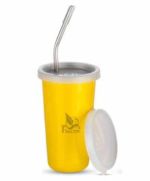 Falcon Steel Straw Sipper With Lid Yellow - 300 ml