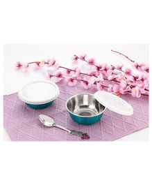 Falcon Non Spill Steel Snack Bowl With Spoon Firozi - Pack of 2