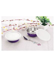 Falcon Non Spill Steel Snack Bowl With Spoon Purple - Pack of 2