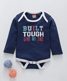 Babyhug Full Sleeves Cotton Onesie Built Tough Print - Navy