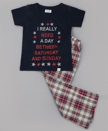 Sheer Love Quote Printed Tee & Checkered Pajama - Blue