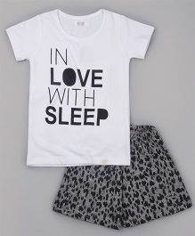 Sheer Love In Love With Sleep Printed Tee & Shorts Set - White & Grey