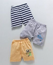 Ohms Shorts Stripes & Multiprint Pack of 3 - Grey Yellow Navy