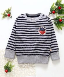 Olio Kids Full Sleeves Striped Winter Wear Tee - Grey