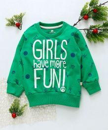 Olio Kids Full Sleeves Winter Wear Tee Quote Print - Green