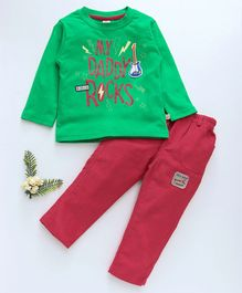 Olio Kids Full Sleeves Tee & Corduroy Pant Daddy Rocks Prints - Green Red