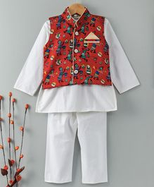 Bownbee Solid Kurta Pajama With Printed Waistcoat - Red