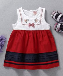 Sunny Baby Flower Embroidered Sleeveless Dress - Red