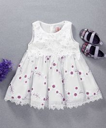 Sunny Baby All Over Flower Design Sleeveless Dress - White