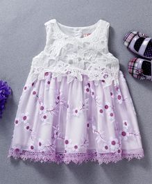 Sunny Baby All Over Flower Design Sleeveless Dress - Purple