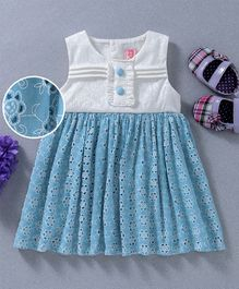 Sunny Baby Flower Embroidery Work Sleeveless Dress - Blue