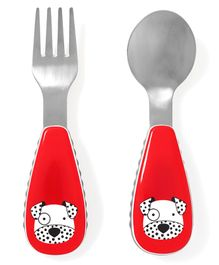 Skiphop Fork And Spoon Set Dalmatian Puppy Print - Red