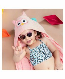 Rabitat Kids Hooded Towel Owl Design - Pink