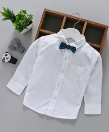 Gini & Jony Full Sleeves Shirt With Bow - White