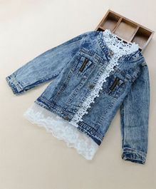 Pre Order - Awabox Long Sleeves Lace Design Jacket - Blue