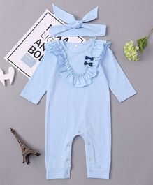 Pre Order - Awabox Bow Applique Romper With Headband - Blue
