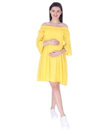 MomToBe Off Shoulder Maternity Dress - Yellow