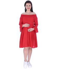 MomToBe Off Shoulder Maternity Dress - Pink