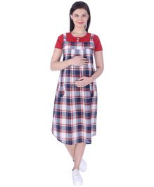 MomToBe Short Sleeves Maternity Nursing Check Dress - Red Blue