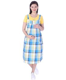 MomToBe Short Sleeves Maternity Nursing Check Dress - Yellow Blue