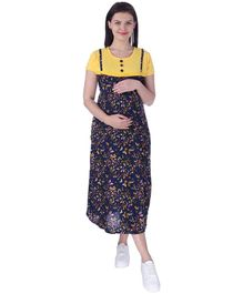 MomToBe Short Sleeves Maternity Nursing Dress Butterfly Print - Yellow Blue