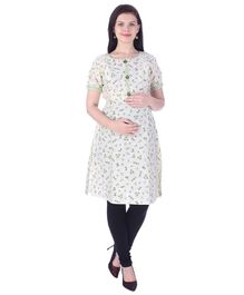 MomToBe Half Sleeves Maternity Nursing Kurti - Off White & Green