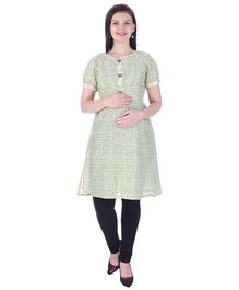 MomToBe Half Sleeves Maternity Nursing Kurti - Green