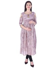 MomToBe Cold Shoulder Maternity Kurti - Brown