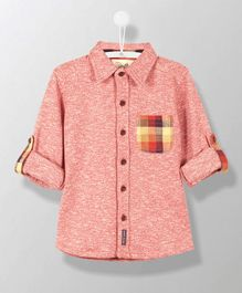 Cherry Crumble California Shirt With Checkred Pocket - Caramine