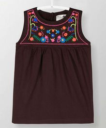 Cherry Crumble California Flower Embroidered Sleeveless Dress - Brown