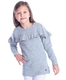 Cherry Crumble California Full Sleeves Dress With Frill - Grey