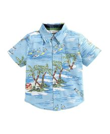 Crayonflakes Beach Printed Half Sleeves Shirt - Light Blue