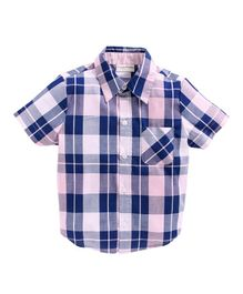 Crayonflakes Checks Half Sleeves Shirt - Pink & Blue