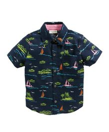 Crayonflakes Beach Theme Half Sleeves Shirt - Navy Blue