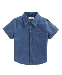 Crayonflakes Solid Half Sleeves Shirt - Blue