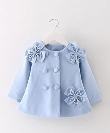 Pre Order - Awabox Flower Applique Party Coat - Blue