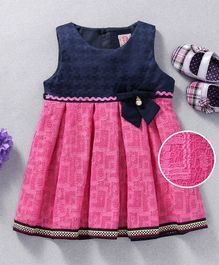Sunny Baby Self Design Bow Applique Sleeveless Dress - Pink