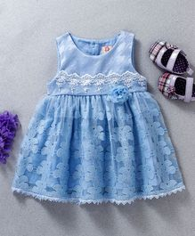 Sunny Baby Flower Applique Lace Sleeveless Dress - Blue
