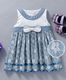 Sunny Baby Bow At The Waist Sleeveless Dress - Blue