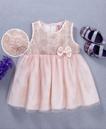 Sunny Baby Bow Applique Sleeveless Dress - Pink