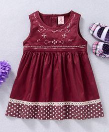 Sunny Baby Embroidered Neck Sleeveless Dress - Maroon