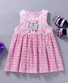 Sunny Baby Embroidered Sleeveless Casual Dress - Pink