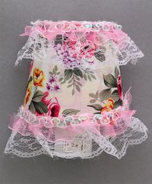 LED Night Lamp With Floral Printed Fabric - Pink